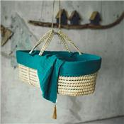 Basket & bed linen - teal blue